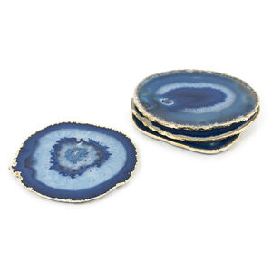 Coasters - Blue and Gold Agate Coasters