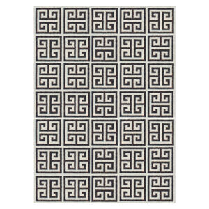 Peruvian Llama Flat Weave - Black Greek Key Peruvian Llama Flat Weave Rug