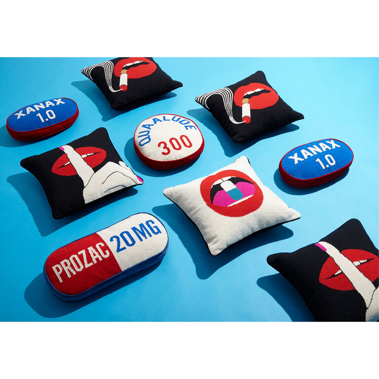 Cushions & Throws - Lips Smolder Needlepoint Throw Pillow