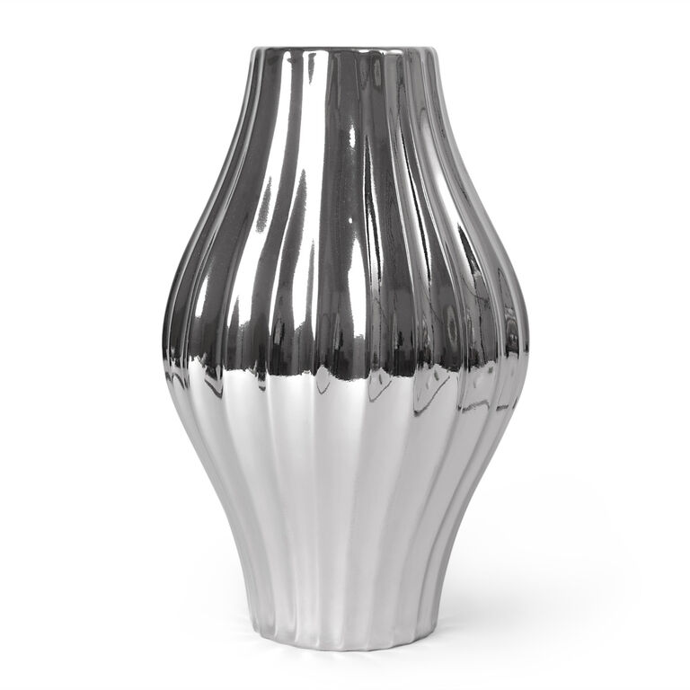 Vases - Metallic Platinum Belly Vase