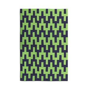 Indian Kilim Flatweave - Green And Navy Stepped Chevron Kilim Flat Weave Rug