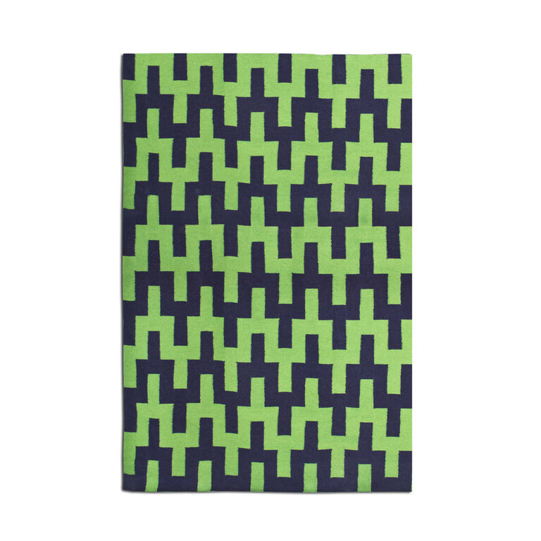 Indian Kilim Flatweave - Green And Navy Stepped Chevron Kilim Flat Weave Rug