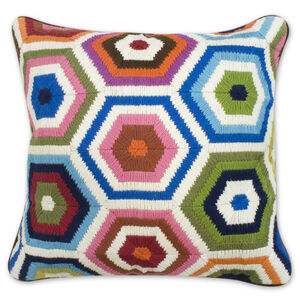 Cushions & Throws - Multi Bargello Honeycomb Cushion