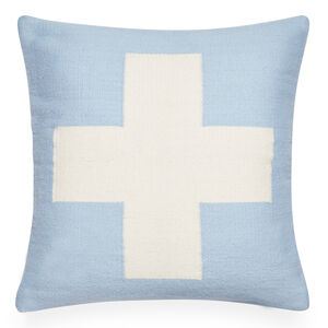 Patterned - Reversible Light Blue Cross Pop Throw Pillow
