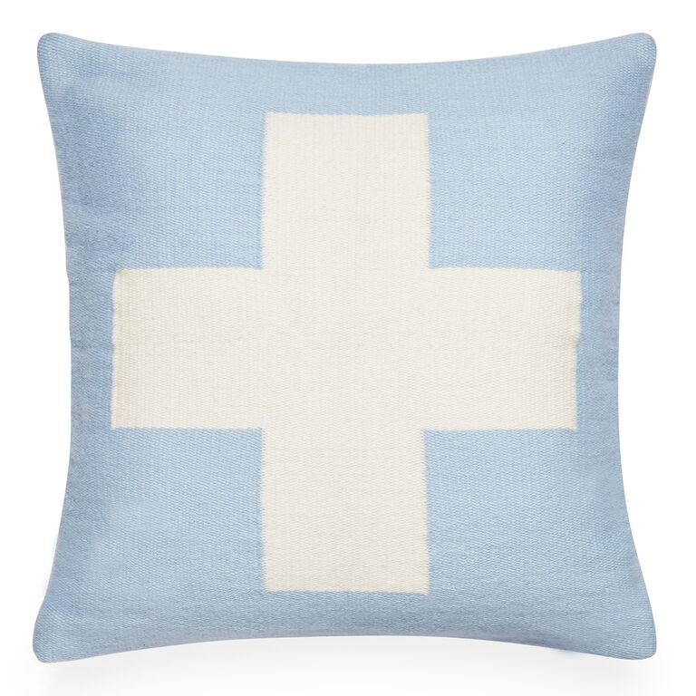 Light Blue Patterned Throw Pillow : Reversible Cross Pop Light Blue Throw Pillow 16 x 16 Jonathan Adler