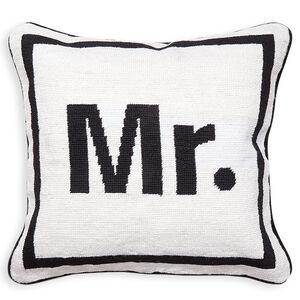 """Needlepoint - """"Mr."""" Needlepoint Throw Pillow"""