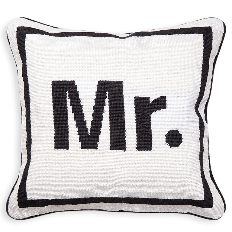 "Needlepoint - ""Mr."" Needlepoint Throw Pillow"