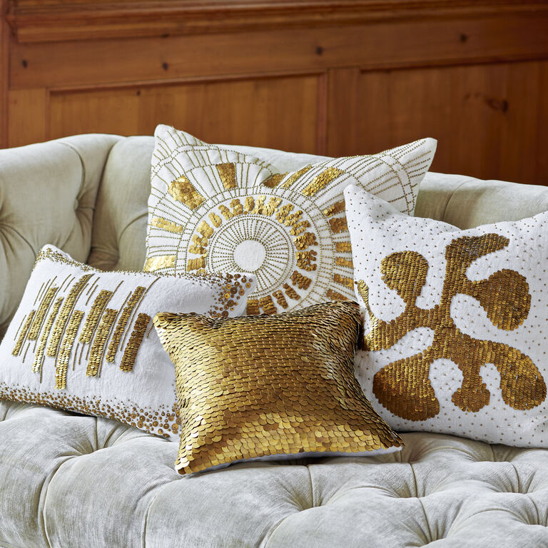 Talitha Discs Gold Throw Pillow 12 X 12 Jonathan Adler