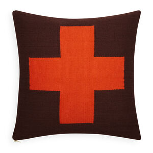 Patterned - Reversible Orange/Chocolate Cross Pop Throw Pillow