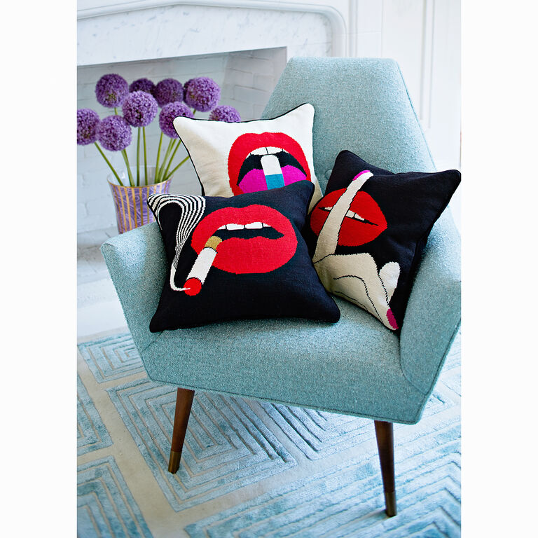 Holding Category for Inventory - Lips Full Dose Needlepoint Throw Pillow