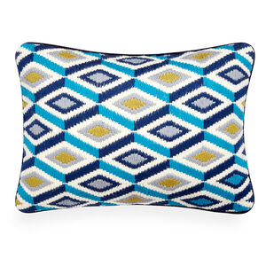Patterned - Turquoise Bargello Diamonds Throw Pillow