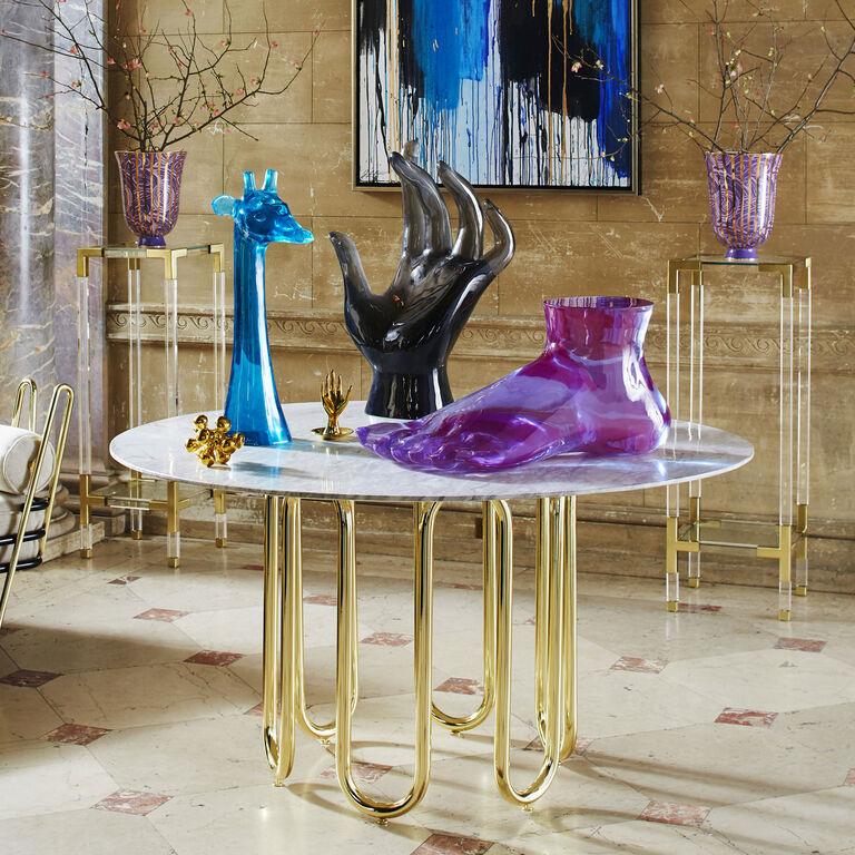 Giant foot purple sculpture modern decor jonathan adler for Objet decoration design contemporain