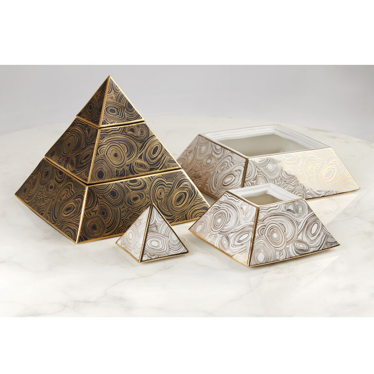 Boxes & Canisters - Malachite Pyramid Stacking Box