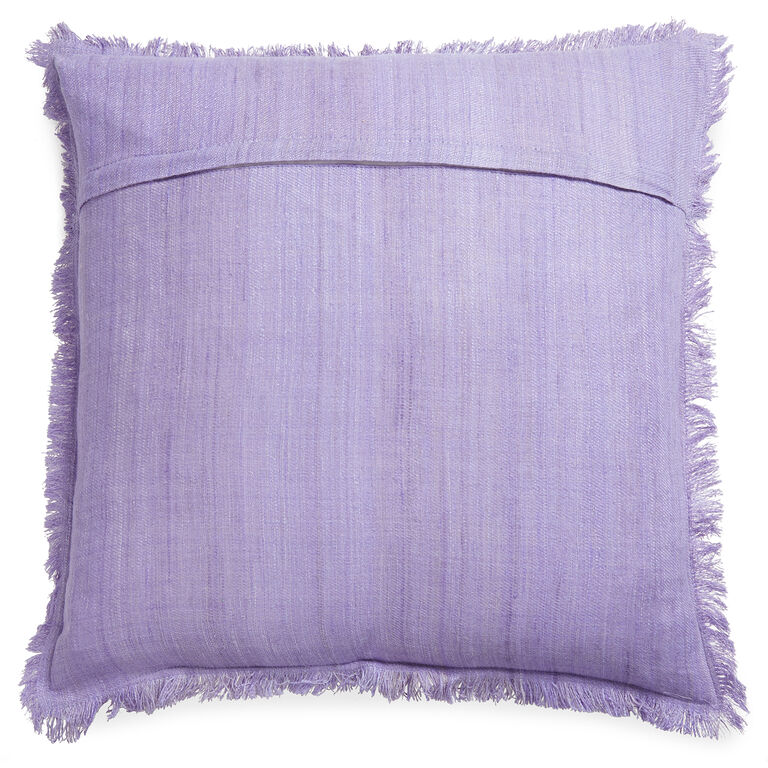 Solid Silk Frayed Edge Lavender Throw Pillow 22 x 22 Jonathan Adler
