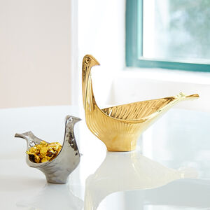 Bowls - Menagerie Small Platinum Glazed Bird Bowl