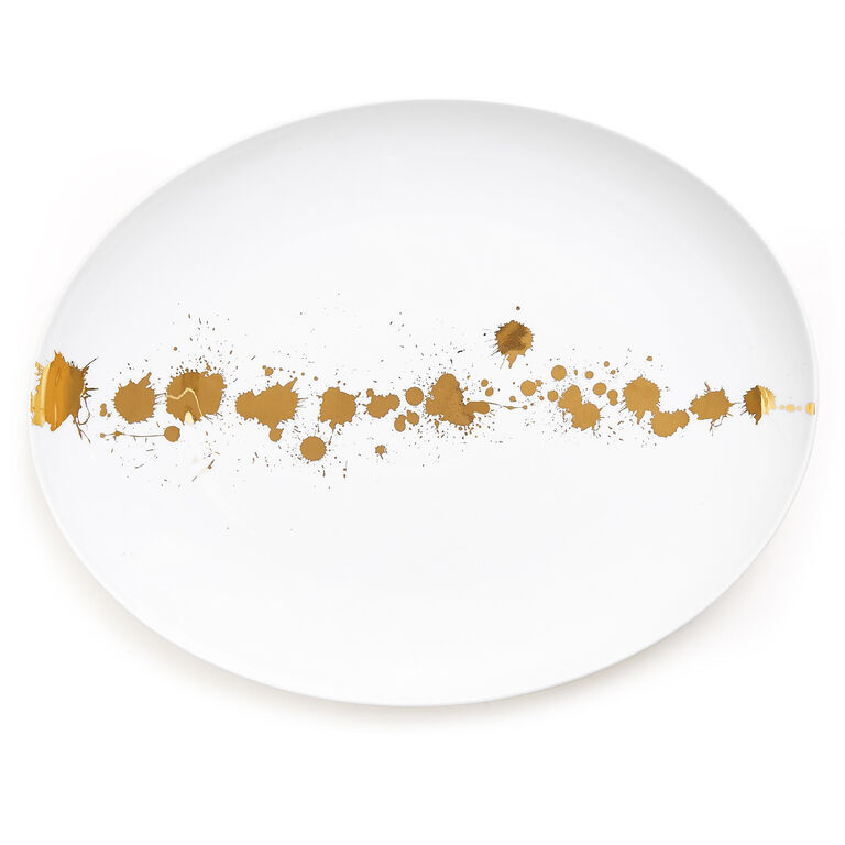 1948 white and gold oval serving plate modern dining jonathan