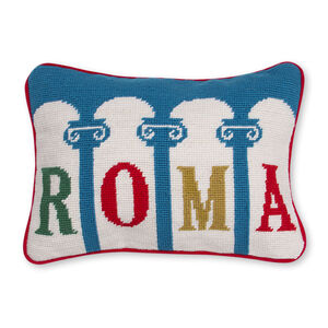 Needlepoint - Roma Needlepoint Throw Pillow