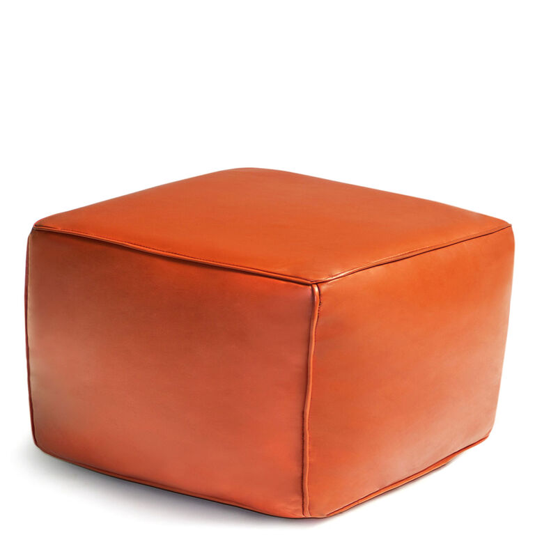 Benches & Ottomans - Square Leather Moroccan Pouf