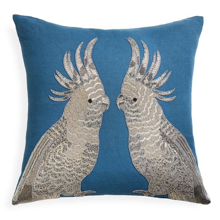 Best Decorative Pillow Websites : Zoology Parrots Blue Throw Pillow 20 x 20 Jonathan Adler