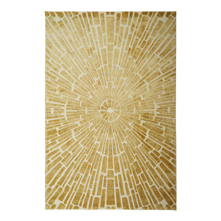 Holding Category for Inventory - Gold Sunburst Hand-Knotted Rug
