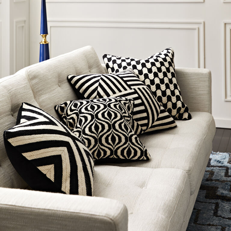Patterned - Black And White Bargello Windmill Throw Pillow