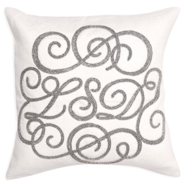 Textured & Embellished - LSD Beaded Linen Throw Pillow