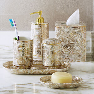 Bath Accessories - Malachite Canister