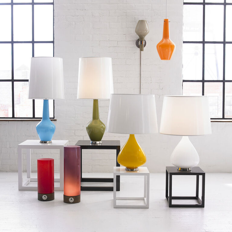 Small Capri White Table Torchiere Modern Table Lamps