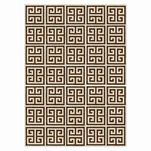 Peruvian Flat Weave - Brown Greek Key Peruvian Llama Flat Weave Rug