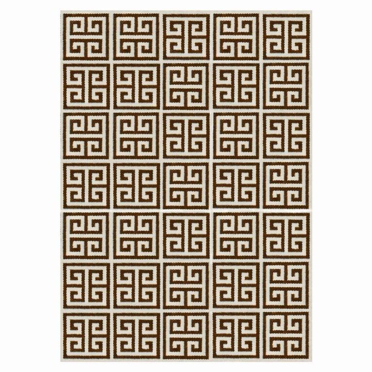 Greek Key Peruvian Llama Flat Weave Brown Rug