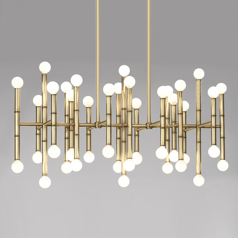 Meurice rectangle nickel chandelier modern chandeliers jonathan adler - Can light chandelier ...