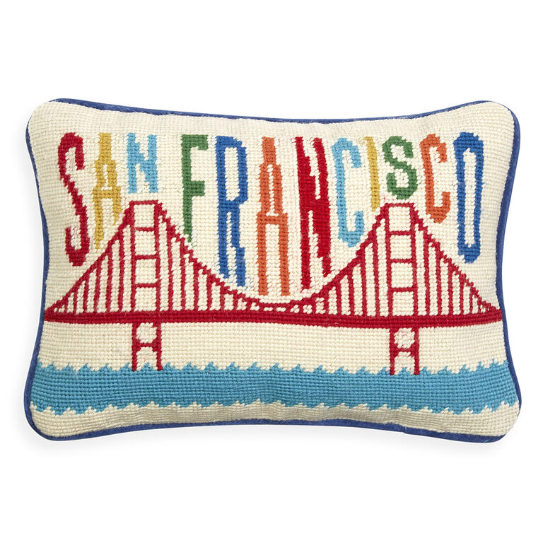 San Francisco Needlepoint Throw Pillow Throw Pillows Jonathan Adler