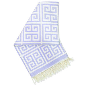 Throws - Purple Greek Key Baby Alpaca Throw