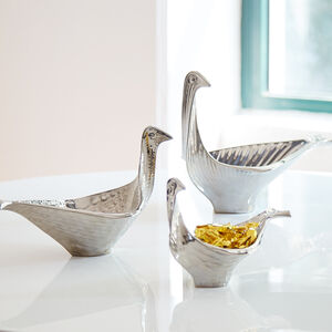 Bowls - Menagerie Medium Platinum Glazed Bird Bowl