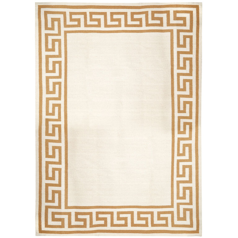 Greek Key Border Reversible Peruvian Llama Flat Weave Rug