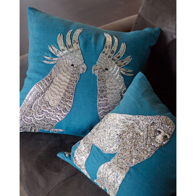 Textured & Embellished - Zoology Parrots Throw Pillow