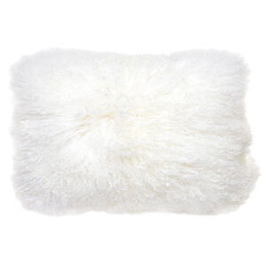 Textured & Embellished - Mongolian Lamb Hair Lumbar Throw Pillow