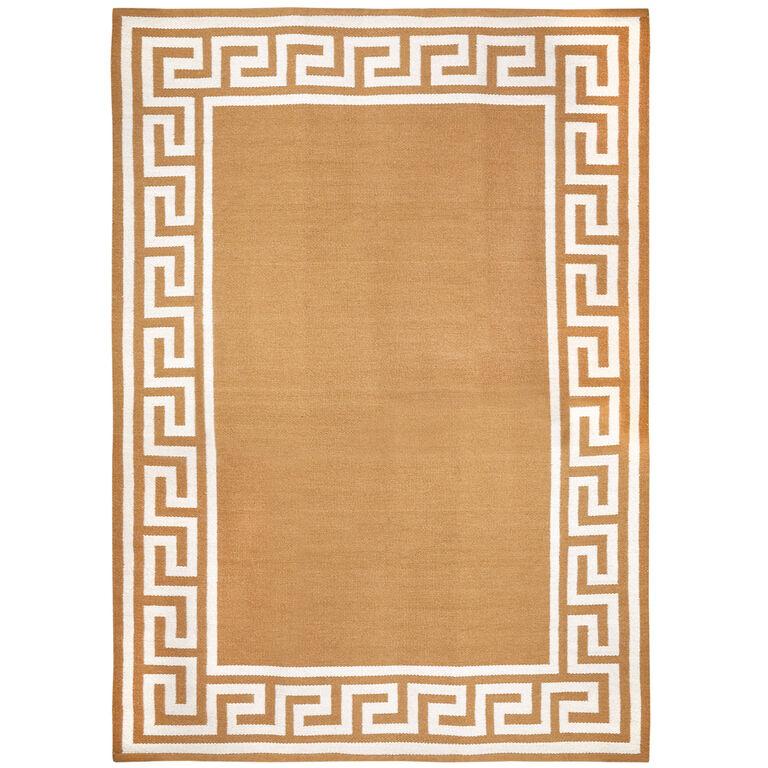 Peruvian Flat Weave - Camel Greek Key Border Reversible Peruvian Llama Flat Weave Rug