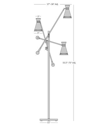 Havana Three-Arm Floor Lamp Isometric 1