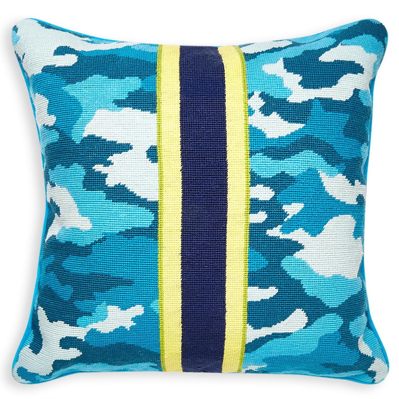 needlepoint teal camo needlepoint throw pillow