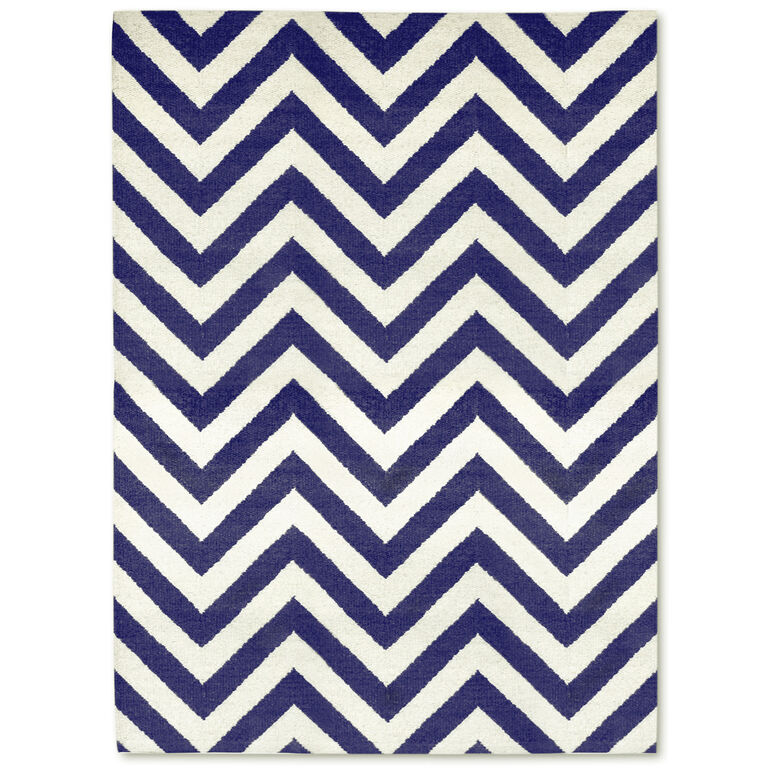 Holding Category for Inventory - Navy Herringbone Peruvian Llama Flat Weave Rug