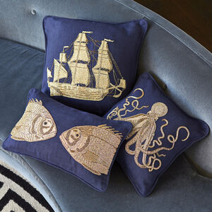 Textured & Embellished - Aquatica Ship Throw Pillow