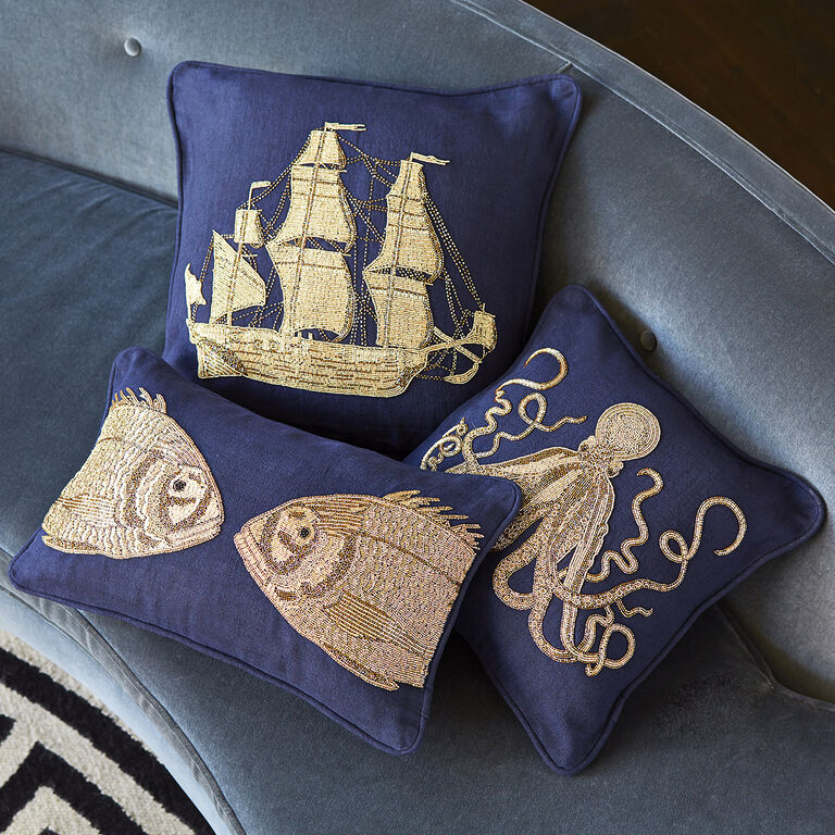 Textured & Embellished - Aquatica Fish Throw Pillow