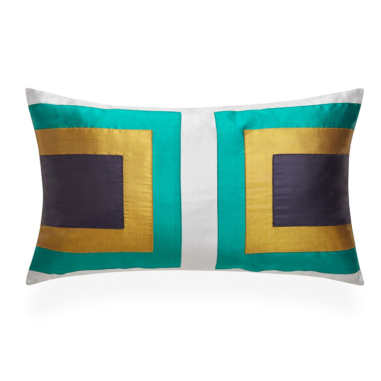 Textured & Embellished - Emerald Siam Collision Throw Pillow