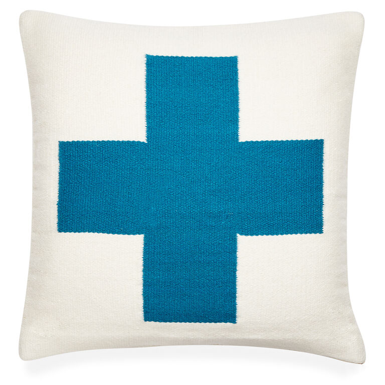 Patterned - Reversible Turquoise Cross Pop Throw Pillow