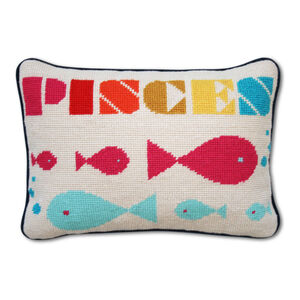Needlepoint - Pisces Zodiac Needlepoint Throw Pillow
