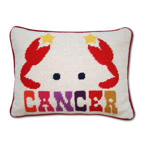 Needlepoint - Cancer Zodiac Needlepoint Throw Pillow