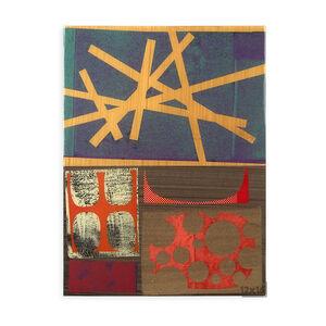 "Rex Ray - Rex Ray ""12 X 16 Artwork"" Original Blue/Orange Mixed Media Collage"