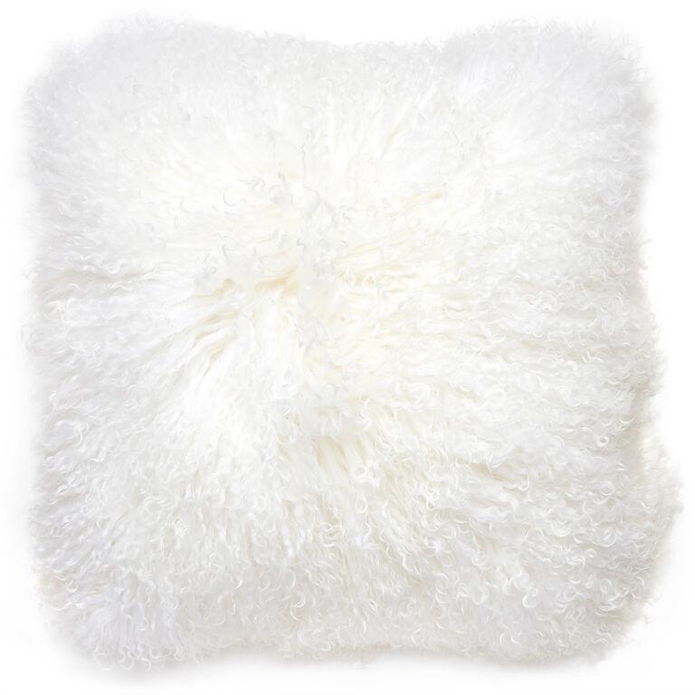 Textured & Embellished - Mongolian Lamb Hair Throw Pillow