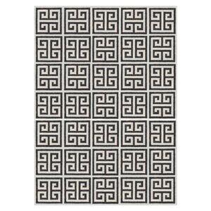 Peruvian Flat Weave - Black Greek Key Peruvian Llama Flat Weave Rug